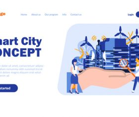 Smart city concept cartoon illustration vector