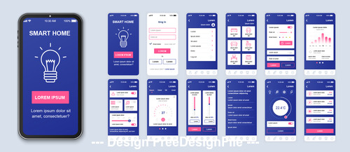 Smart home mobile app Ui Kit Screen vector