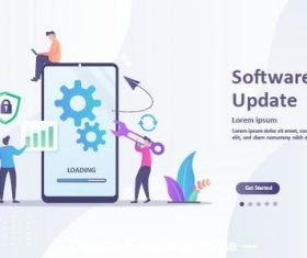 Smartphone software update cartoon illustration vector