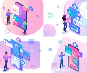 Smartphone verification concept illustration vector