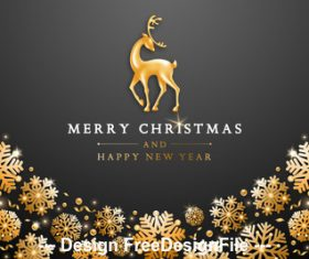 Snowflake and deer merry christmas template vector