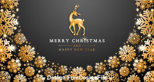 Snowflake and deer merry christmas template vector