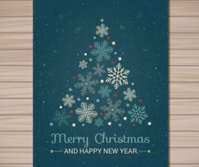 Snowflake christmas new year card vector