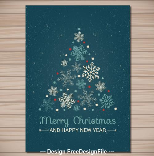Snowflake christmas new year card vector