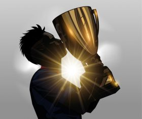 Soccer player kissing trophy silhouette vector