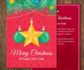 Star and ball decoration christmas new year card vector