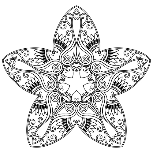 Star shape mandala black silhouette vector
