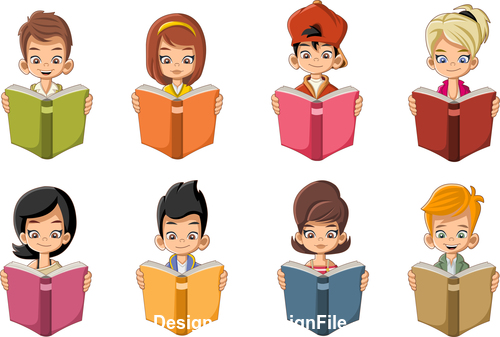 Students careful reading books vector