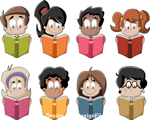 Students reading books vector