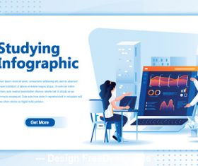 Studying infographic flat isometric vector concept illustration