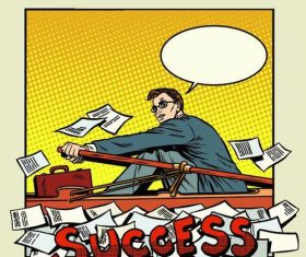 Success business comic vector