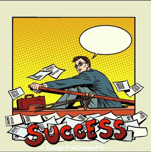 Success business comic vector