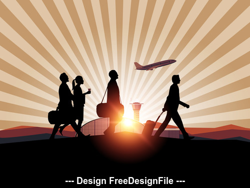 Sunrise airport travel people silhouettes vector