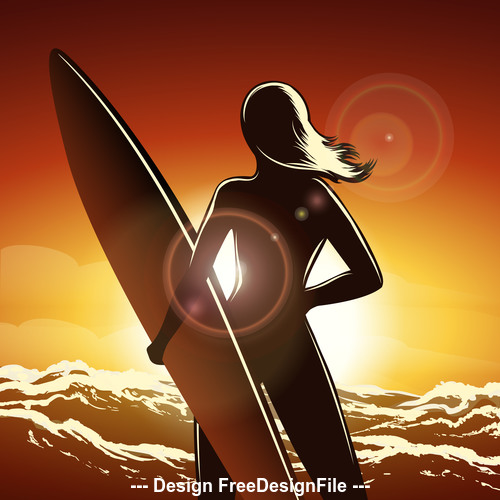 Surfer girl on a beach silhouette vector