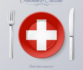 Switzerland authentic cuisine and flag circ icon vector