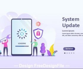 System update cartoon illustration vector