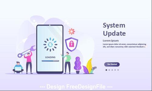 System update cartoon illustration vector