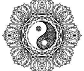 Tattoo Mandala black Yin yang vector