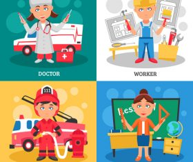 Teacher etc professions illustration vector