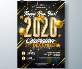 Template design 2020 new year party poster vector