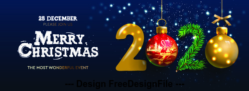 Text design 2020 christmas template vector free download