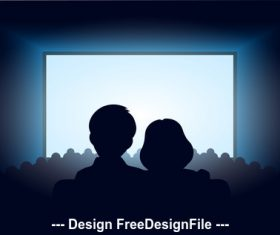 Theater couple silhouette vector