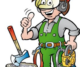 Thumbs up forest worker cartoon vector