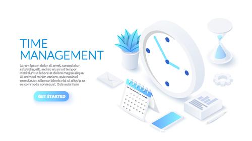 Time management 3D concept illustration vector