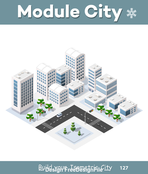 Traffic intersection and city module vector