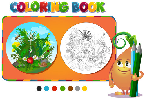 Tropical plant coloring book vector