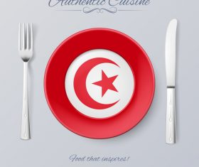Tunisia authentic cuisine and flag circ icon vector