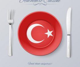 Turkey authentic cuisine and flag circ icon vector