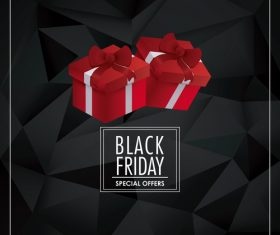 Two gift boxes on black background vector
