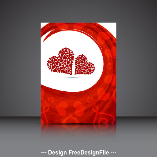 Two red hearts valentines day brochure cover vector