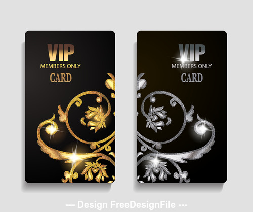 VIP cards with textured floral design elements vector
