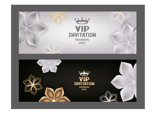 VIP invitation cards with abstract flowers and crown vector
