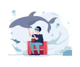 VR experience cartoon illustration vector