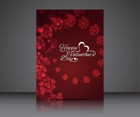 Valentine red heart shaped brochure cover vector