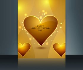 Valentines Day Golden Heart Cover vector