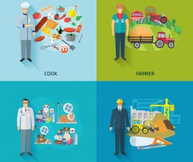 Various professions illustration vector