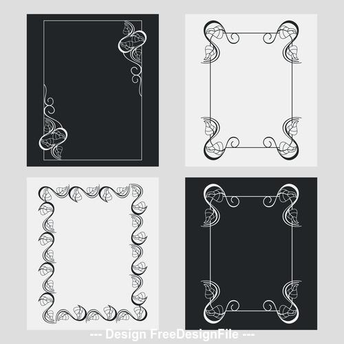 Vertical frames line and flower vector