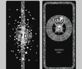 Vertical silver shiny VIP cards vector