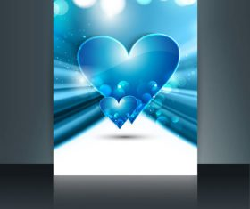 Virtual background heart shaped brochure cover vector