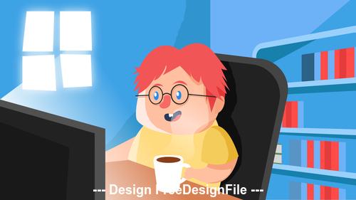 Watch video cartoon illustration vector