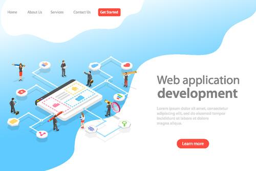 Web application development concept illustration vector
