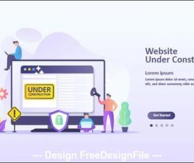 Website landing page template cartoon illustration vector