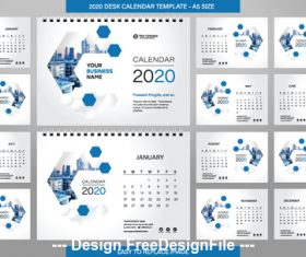 White background new year wall calendar template vector