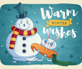 Winter cartoon illustration vector