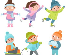 Winter children outdoor play vector