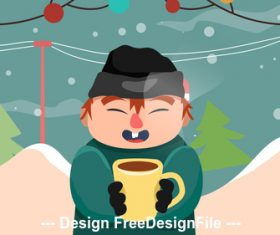 Winter outdoor drink coffee cartoon illustration vector